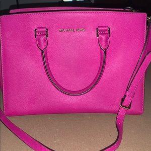 Michael Kors Medium Pink Leather Belted Satchel
